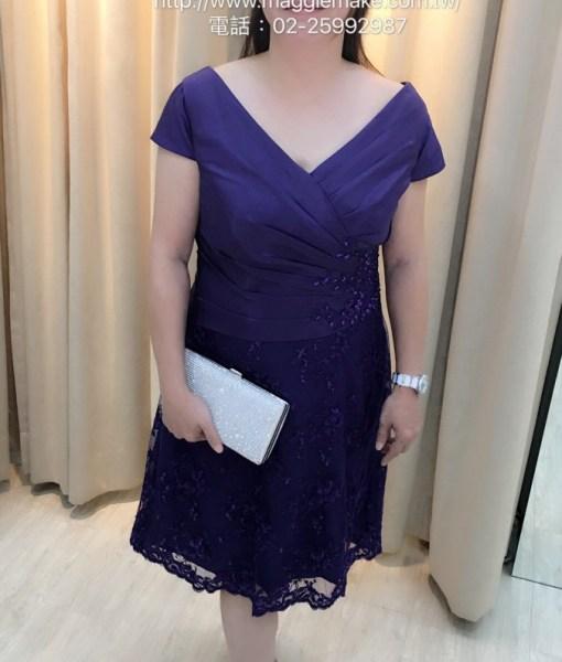 [媽媽禮服]短版及膝洋裝式腰間抓褶貼花小禮服