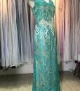 台北媽媽禮,媽媽,果綠色,蕾絲貼花,v領,A-LINE,長禮服