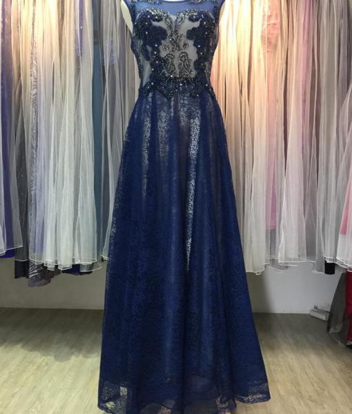 [台北媽媽禮服]寶藍色水晶串珠上下雙層,晚禮服