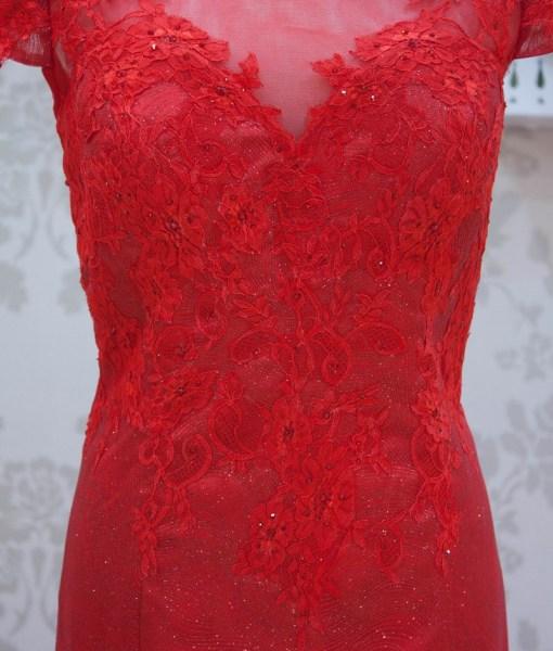 媽媽禮服,台北媽媽禮服,亮紅色,蕾絲晚禮服,