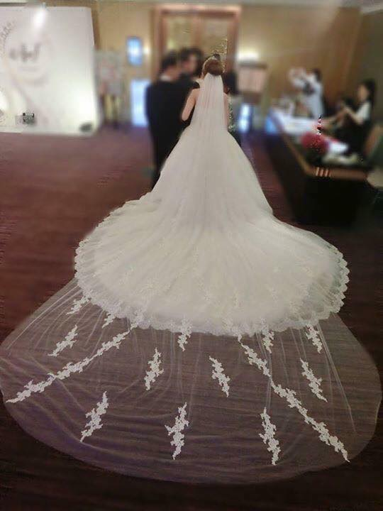 新娘白紗進場長頭紗 (40)