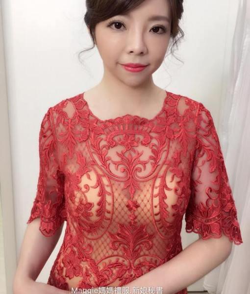 媽媽禮服,A-LINE,晚禮服,粉金色,珊瑚紅浪漫蝴蝶袖,A-LINE