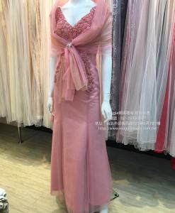 媽媽禮服,度拜,純手工,高級串珠,星鑽深V,寬間細腰,晚禮服