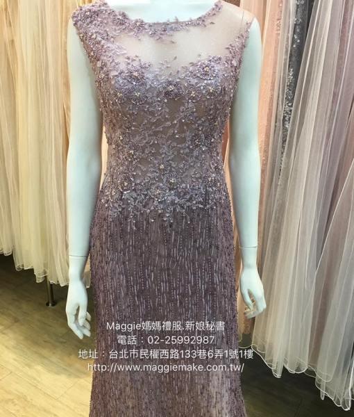[媽媽禮服]K004星空晶鑽藕紫色水晶串珠花媽媽晚禮服