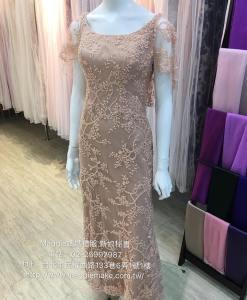 媽媽禮服,蕾絲晚禮服,楊丞琳,星光大道款,甜蜜款,水袖晚禮服,粉膚色蕾絲