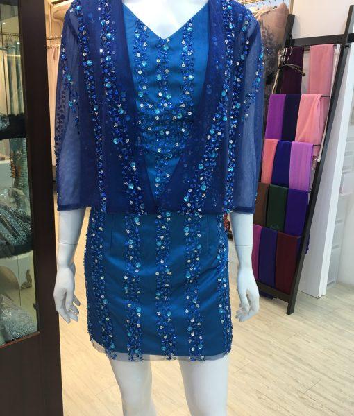 (台北媽媽禮服)藍色短版小外套