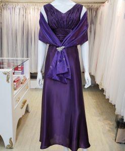 台北媽媽禮服,紫色,V領,A-line,長禮服,披肩