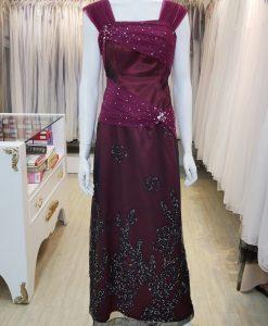 台北媽媽禮服,紫色,緞面,方形領,亮片,長禮服