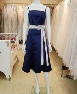 台北媽媽禮服,藍色,緞面,平口,細肩帶,蝴蝶結,A-line,短禮服,小禮服