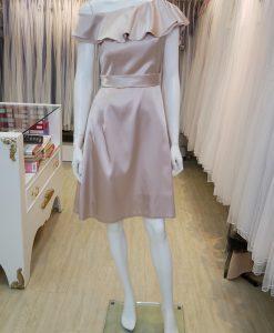 台北媽媽禮服,香檳金,緞面,荷葉領,A-line,短禮服,小禮服