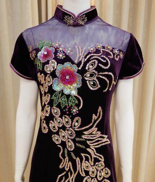 紫色,絨布,亮片,開衩,短袖,長旗袍,媽媽禮服,婆婆禮服,主婚人,台北媽媽禮服, ,媽媽裝禮服,媽媽宴客禮服,媽媽晚宴服