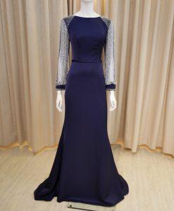 藍色,緞面,寬領,薄紗袖,串珠,長禮服,媽媽禮服,婆婆禮服,主婚人,台北媽媽禮服, ,媽媽裝禮服,媽媽宴客禮服,媽媽晚宴服