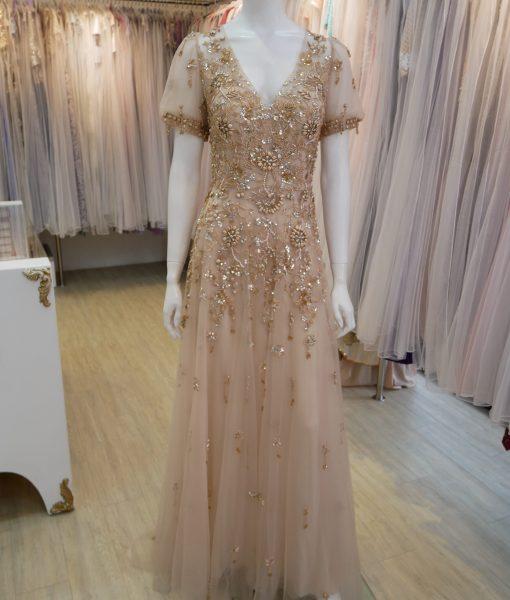 (台北媽媽禮服)M49粉膚手工奢華亮鑽串珠V領薄紗公主袖長禮服