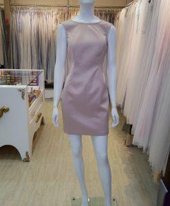 粉膚,兩件式,緞面,圓領,無袖,小禮服,蕾絲,七分袖,外套,小禮服,短版禮服,媽媽禮服,好命婆,媒人婆,主持人,儀式小禮服,台北媽媽禮服