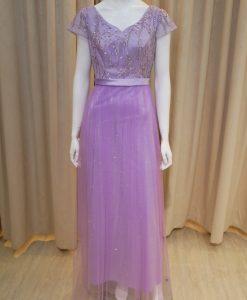 紫色,緞面,珠工,蕾絲,V領,短袖,長禮服,媽媽禮服,婆婆禮服,主婚人,台北媽媽禮服, ,媽媽裝禮服,媽媽宴客禮服,媽媽晚宴服