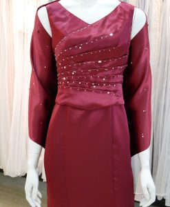 紅色,緞面,V領,手工串珠,魚尾裙,長禮服,披肩
