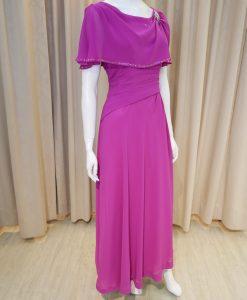 紫色,雪紡紗,荷葉袖,寬領,亮鑽,A-line,長禮服