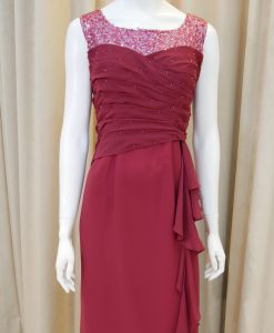 紅色,雪紡紗,亮片,圓領,長禮服,披肩