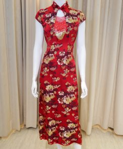 紅色,刺繡,亮片,水滴領,小包袖,旗袍