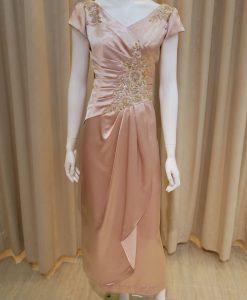 香檳金,緞面,V領,珠工,刺繡,長禮服,披肩