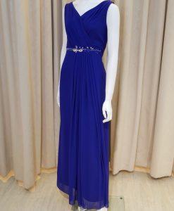藍色,雪紡紗,V領,亮鑽,長禮服,披肩