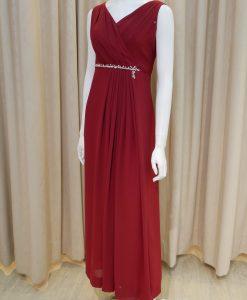紅色,雪紡紗,V領,A-line,亮鑽,長禮服,披肩