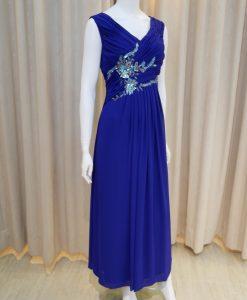 藍色,雪紡紗,V領,亮片,長禮服,披肩