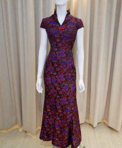 黑色,紅色,短袖,魚尾裙,長旗袍