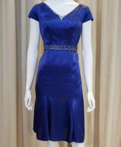 藍色,緞面,V領,亮鑽,短袖,小禮服,媽媽禮服,婆婆禮服,主婚人,台北媽媽禮服, ,媽媽裝禮服,媽媽宴客禮服,媽媽晚宴服