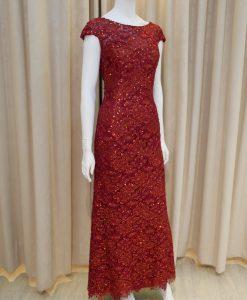 紅色,亮紗,蕾絲,亮片,寬領,長禮服,披肩