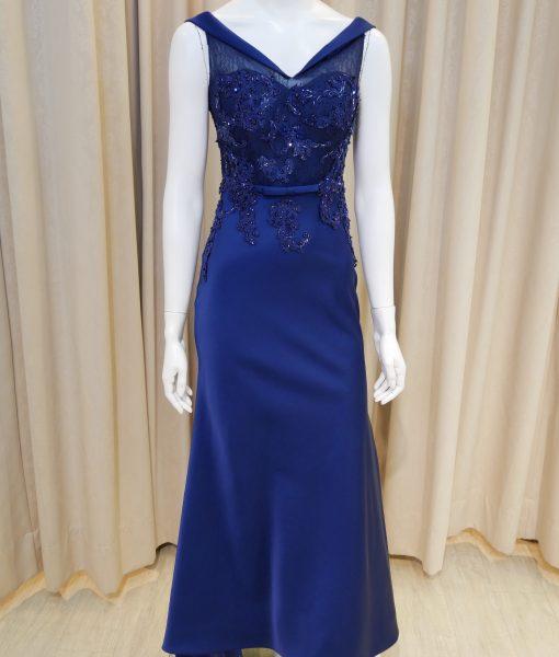 (台北媽媽禮服)M20優雅深藍緞面卡肩翻領珠工蕾絲長禮服