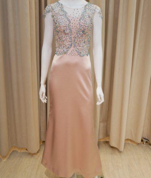 (台北媽媽禮服)M36小版型香檳金緞面蕾絲貼花亮鑽長禮服