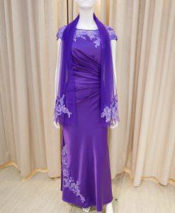 紫色,亮鑽,緞面,卡肩,長禮服,披肩,媽媽禮服,婆婆禮服,主婚人,晚宴服,台北媽媽禮服, ,媽媽裝禮服,媽媽宴客禮服,媽媽晚宴服,媒人婆,好命婆