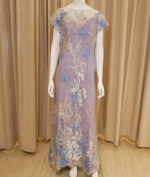 (台北媽媽禮服)MB46大尺碼海洋風淺紫亮紗蕾絲短袖長禮服
