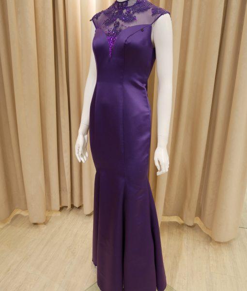 (台北媽媽禮服)C19優雅曲線紫蕾絲立領魚尾長旗袍