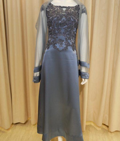 (台北媽媽禮服)MB30典雅灰藍緞珠工卡肩A-line長禮服