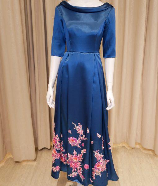 (台北媽媽禮服)MK22孔雀藍緞簡約翻領裸背A-line長禮服
