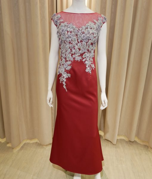(台北媽媽禮服)MK26喜氣紅霧緞珠工蕾絲裸背感長禮服