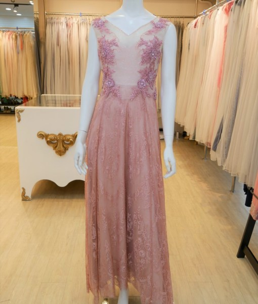 (台北媽媽禮服)MK42粉色蕾絲貼花珠工A-line長禮服