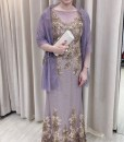 (台北媽媽禮服)宴客實穿MK05氣質咖啡金珠工亮紗短袖長禮服