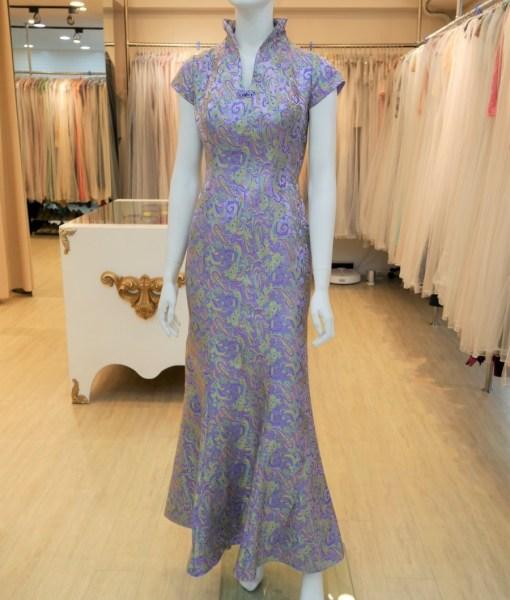 (台北媽媽禮服)C39粉紫織錦立領魚尾長旗袍