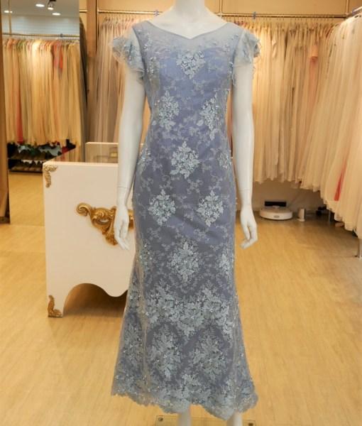 (台北媽媽禮服)MK47灰藍蕾絲珠工荷葉袖長禮服