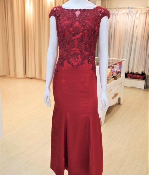 (台北媽媽禮服)MB33紅緞蕾絲珠工魚尾長禮服