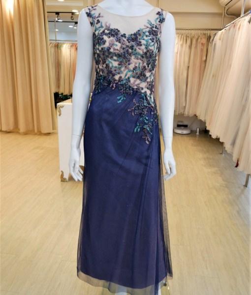 (台北媽媽禮服)MK52雙色亮紗蕾絲貼花抓皺長禮服