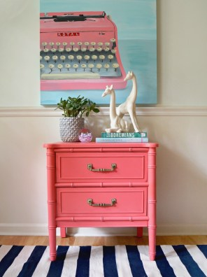 pink-typewriter-painting-coral-bamboo-nightstand-stripes