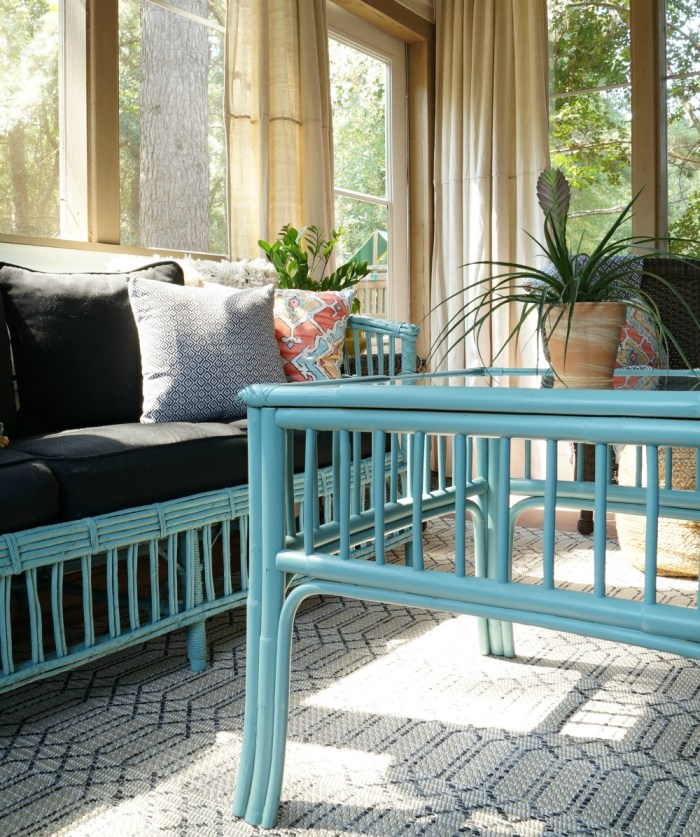 blue-paint-rattan-sofa-screen-porch-sunroom