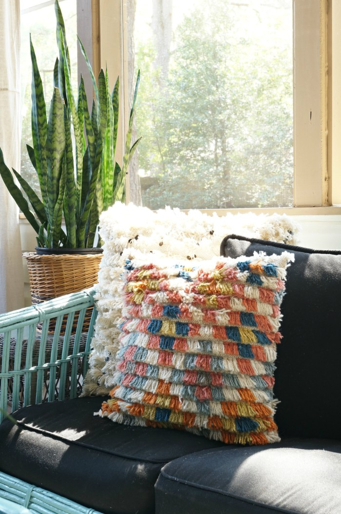bohemian-shag-pillow-painte-rattan-blue-screen-porch-sunroom