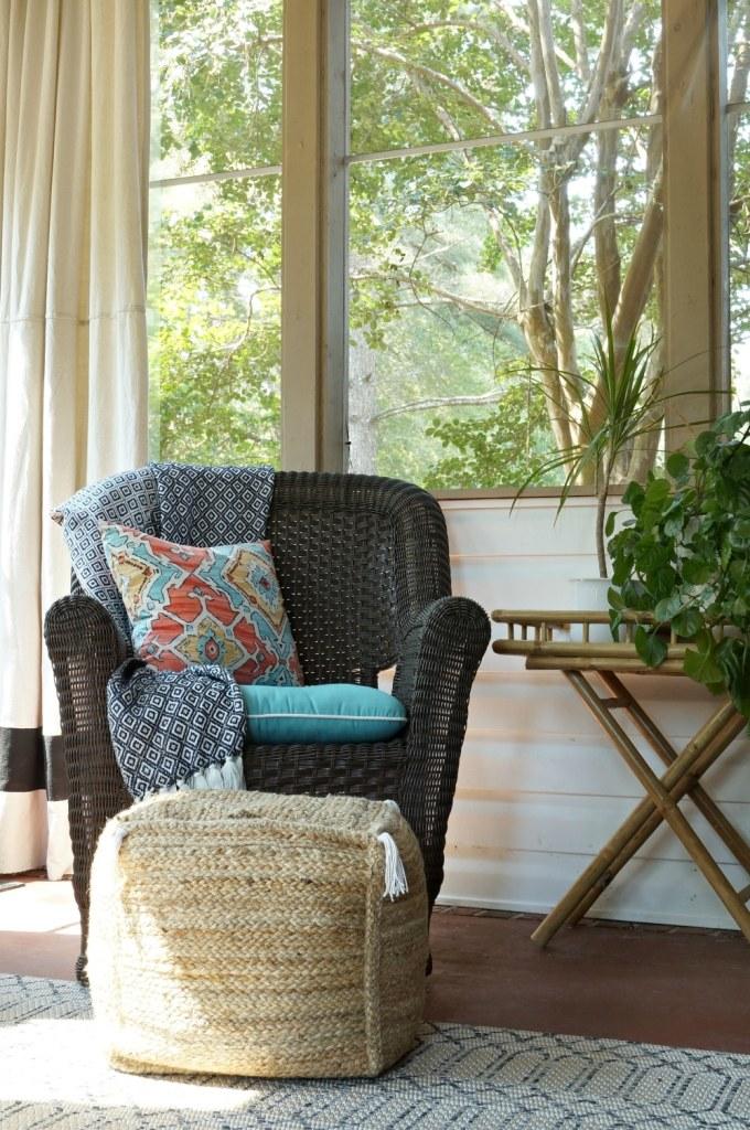 brown-wicker-screen-porch-sunroom-orange-aqua-black-white