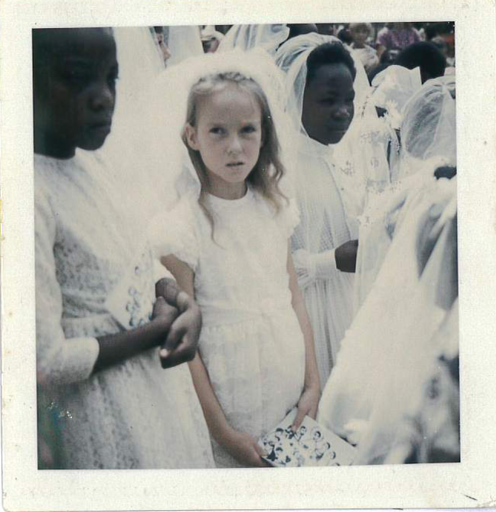 Looking a bit peaky at my First Communion. I'd been ill for months with some mysterious tropical fever. There was no doctor in Chalimbana at the time and Mum looked after me with the aid of a nurses' handbook.