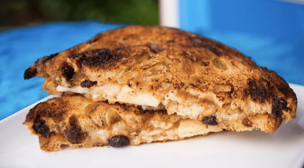 Canadian cheddar and apples grilled cheese sandwich on cinnamon raisin ...